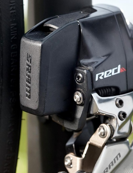 The SRAM Red front derailleur provides great shifting power