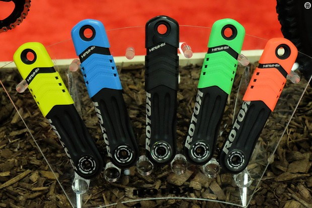 Rotor's new Hawk and Raptor crank arms are protected by colorful covers