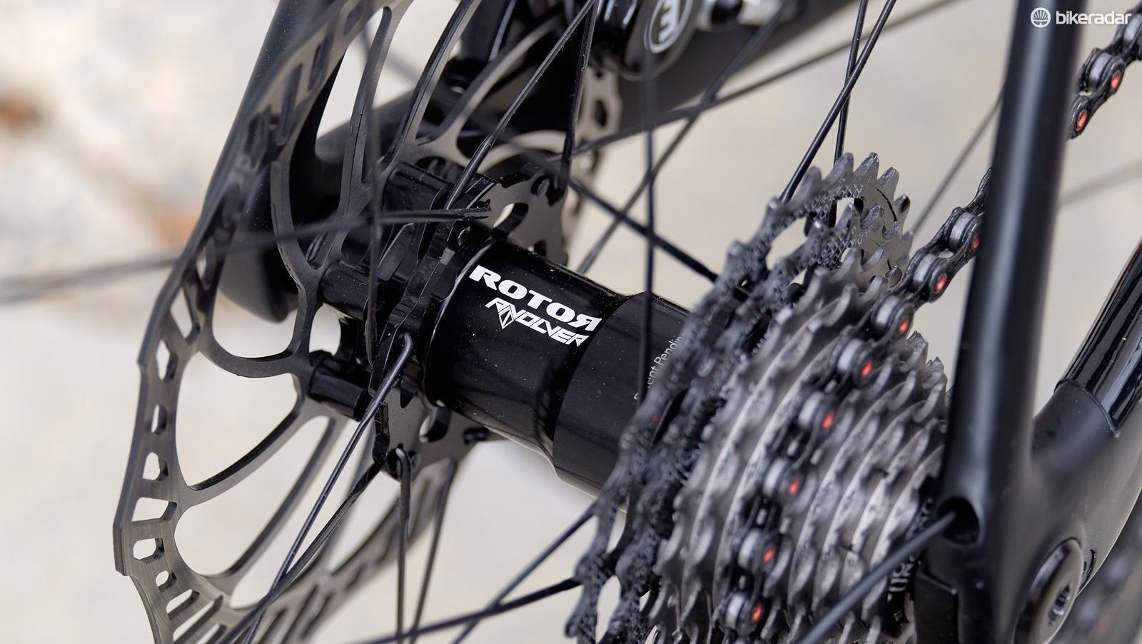 The relatively simple guts of Rotor's Rvolver hubs are designed to reduce friction when coasting
