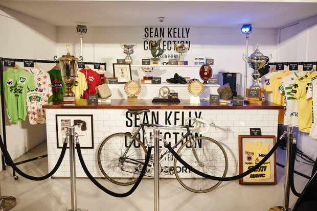 Just a fraction of the trophies and jerseys won by the great Sean Kelly