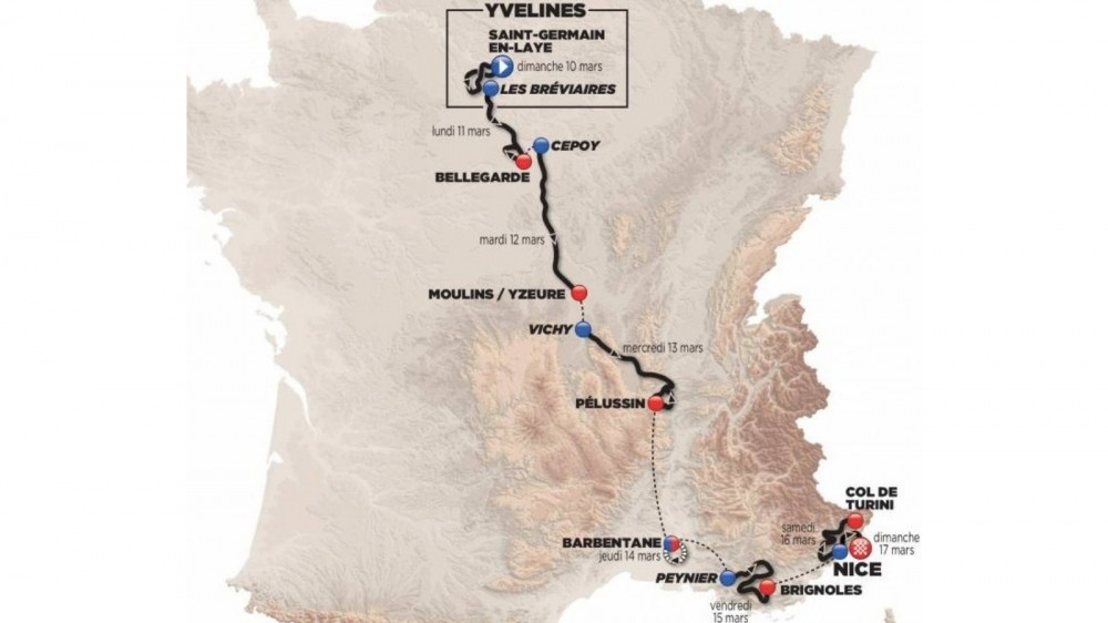 The 77th edition of Paris–Nice features a total of 1,206km of riding