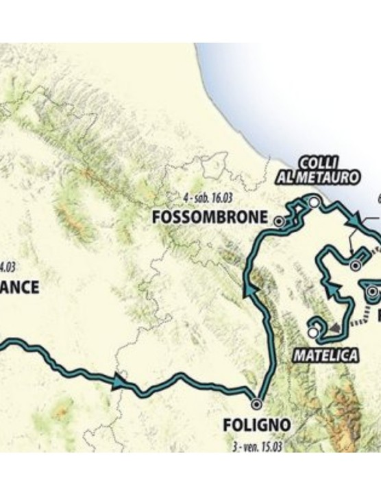 The route traverses the width of Italy, and features mountainous climbs flanked by two flat time-trials