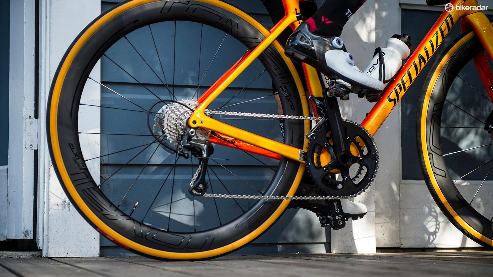 The test platform for the CLX 50 Disc was a Specialized Roubaix