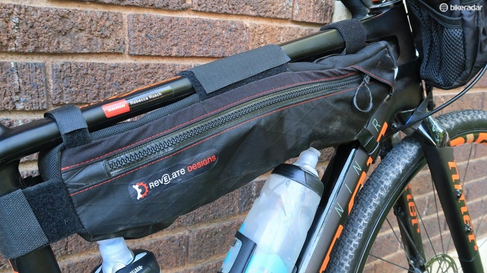 Revelate Designs frame and feedbags held many of her essentials