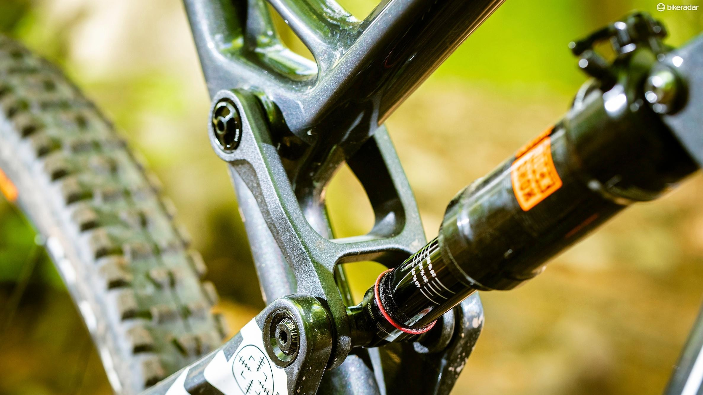 Intense's JS Link suspension, here in its 'Enduro' format provides a decent pedalling platform and a playful ride