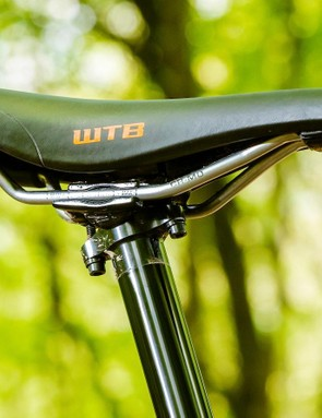 The WTB Silverado saddle is held by a Fox Transfer dropper — one of our favourites