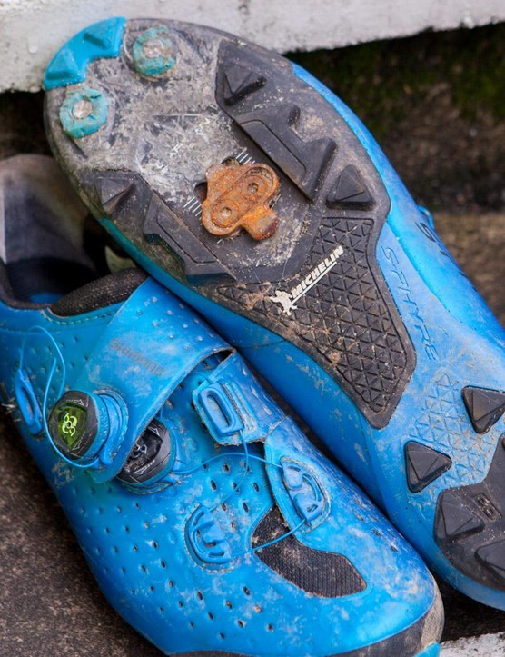Rusty cleats after a Welsh coast to coast epic