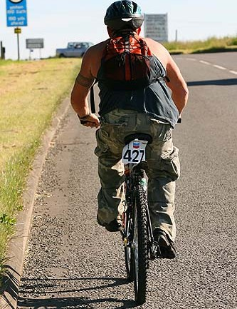 Gareth Stait is a long way from the dirt but still completed the 64-miler