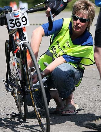 Marshalls check Matthias Grein's bike