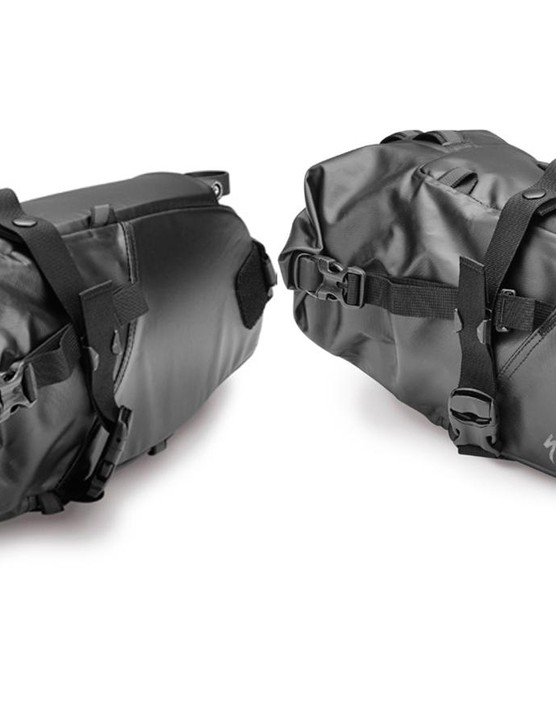 The Stabilizer Seatpack pack has a roll-top closure with straps to synch down the load and external loops to lash on more gear as needed