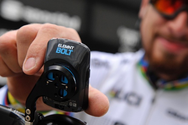 Peter Sagan and his teammates will be racing with Wahoo Elemnt Bolt computers in 2018. The Bolt is shown here with what looks to be a K-Edge mount