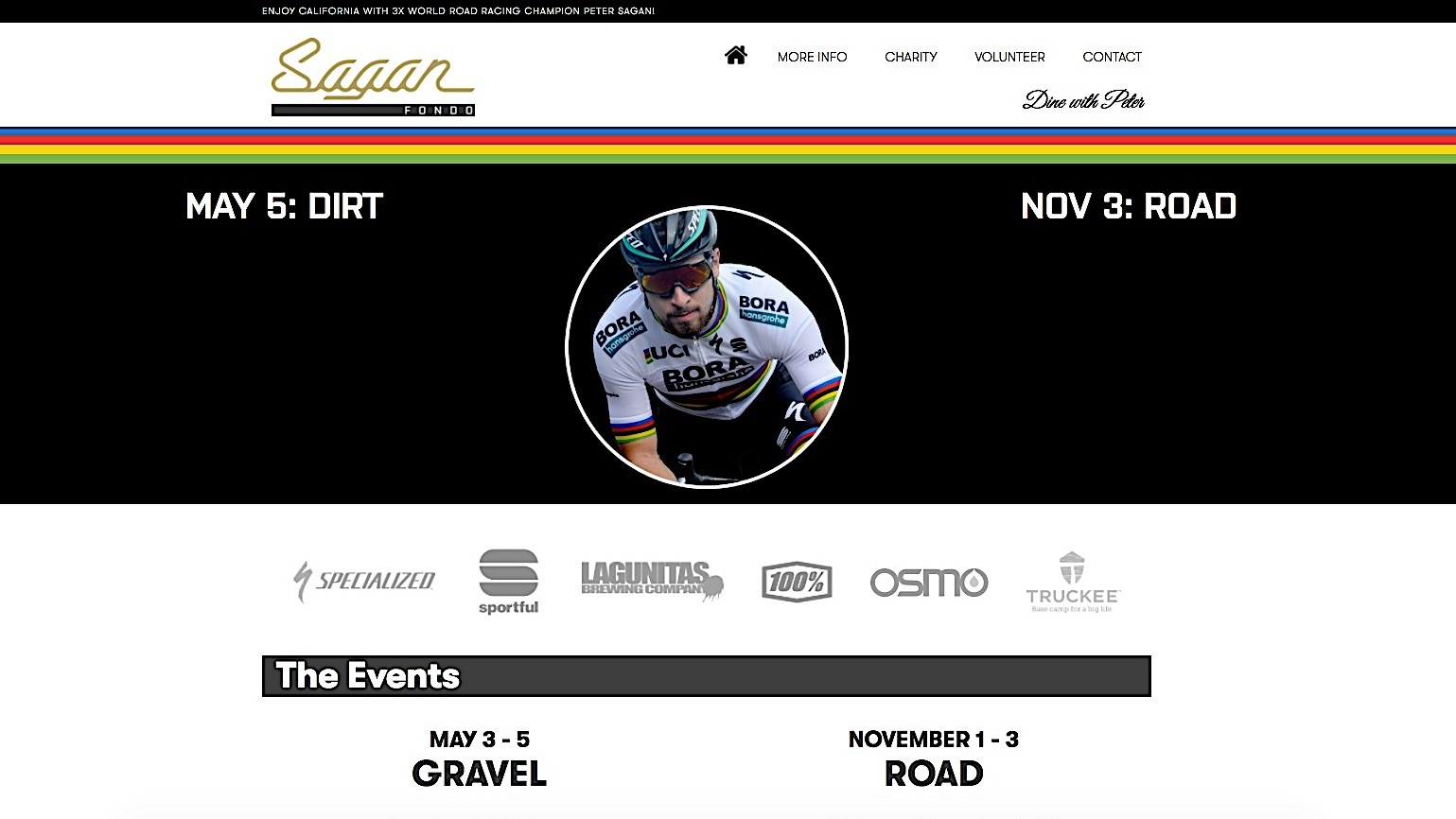 Peter Sagan's May 5 Fondo will be a gravel affair in the Lake Tahoe area