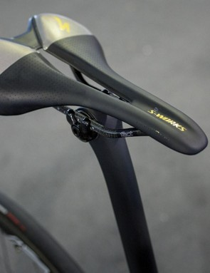 Sagan's S-Works Romin Evo saddle also receives a custom finish