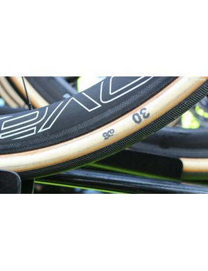 Sagan started on 26mm tubulars, but rode the last two thirds of the race on 30s