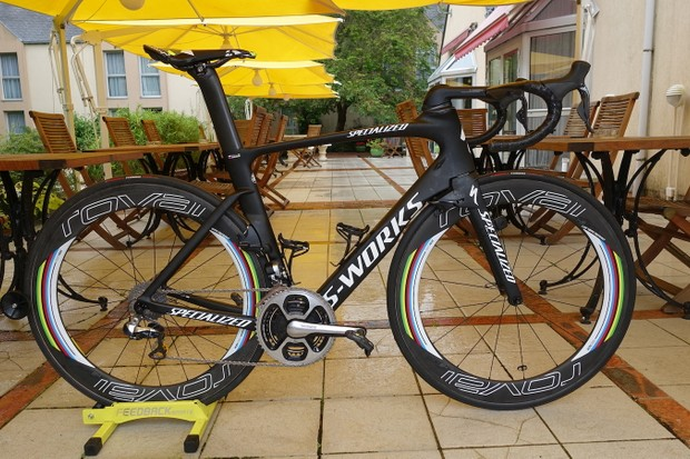 While Tinkoff and Specialized were keen to show off the Venge ViAS that Ron Jones custom painted for world champion Peter Sagan, shown here is the bike upon which he'll actually race. The raw carbon saves an appreciable amount of weight over the deluxe finish of the multicolor Venge. But small details make it obvious that a gregarious world champ is aboard