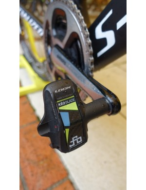 Sagan's LOOK Keo Blade 2's have a custom accent, the world champion's PS logo