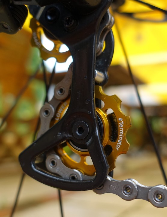 A close look at the gold anodized Ceramicspeed derailleur pulleys reveals the #Terminator, one of Sagan's nicknames