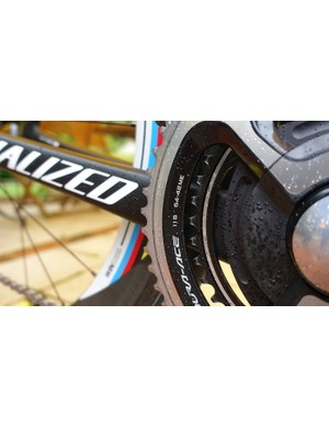 For the first stage of the Tour de France, Sagan ask that a 54-tooth chainring be fitted. In back, he ran an 11-28 cassette