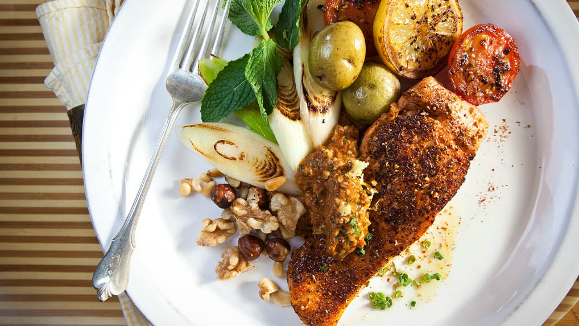 Salmon and vegetables are a good choice when it comes to healthy meals to fuel your cycling