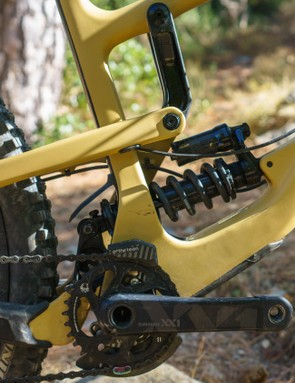 The lower shock mounting is a direct descendent from the V10 downhill race bike