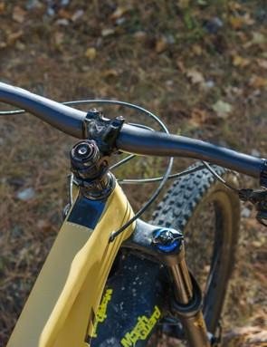 Big bars for a big bike, Santa Cruz's own 800mm wide AM carbon bar featured a 35mm clamp