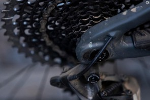 A chip on the dropout allows the chainstay length to be altered by 10mm