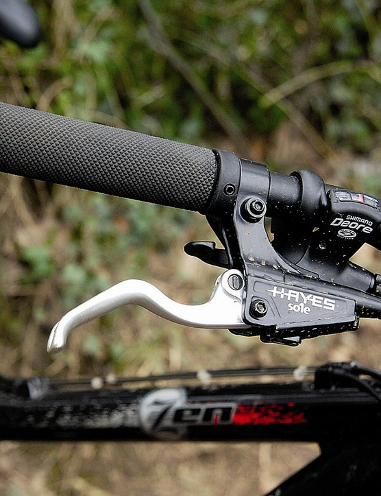 Bolt-on grips are a nice touch. Hayes Sole hydraulic discs are powerfully effective stoppers, if a t
