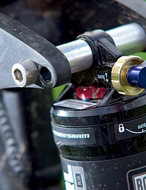 Two shock mounting positions give adjustable rear wheel travel