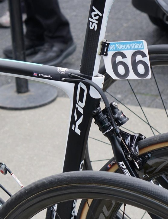 At Scheldeprijs, riders used a mix of bikes, from aero to endurance. Ian Stannard has a Dogma K-10 with suspension