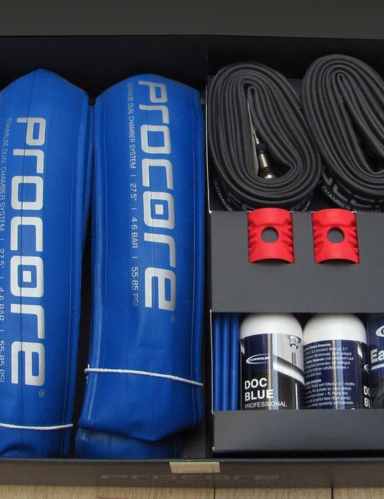It's essentially a very expensive tubeless kit with a couple of unique dual-position-valve inner tubes and inelastic Procore liner 'tyres'
