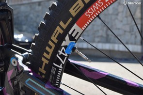 Schwalbe ProCore is used at the back to offer protection from flats