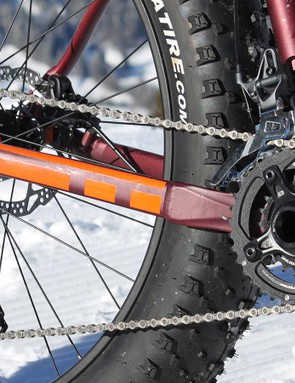The SRAM X7 front derailleur didn't get on with the e*thirteen crankset, with shifting noticeably sluggish