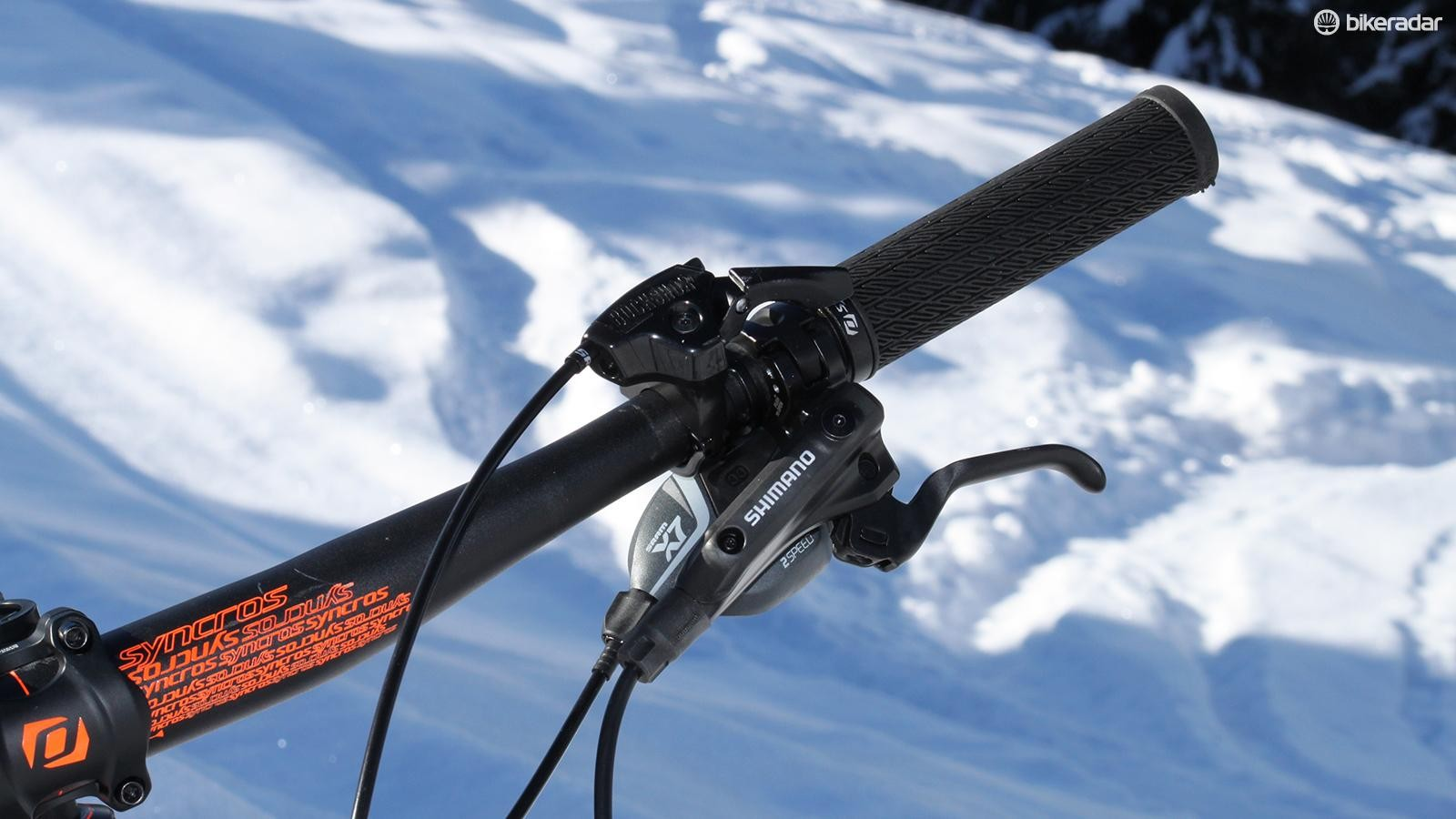 The Shimano Deore stoppers were the business, as usual, but require very careful feathering on snow