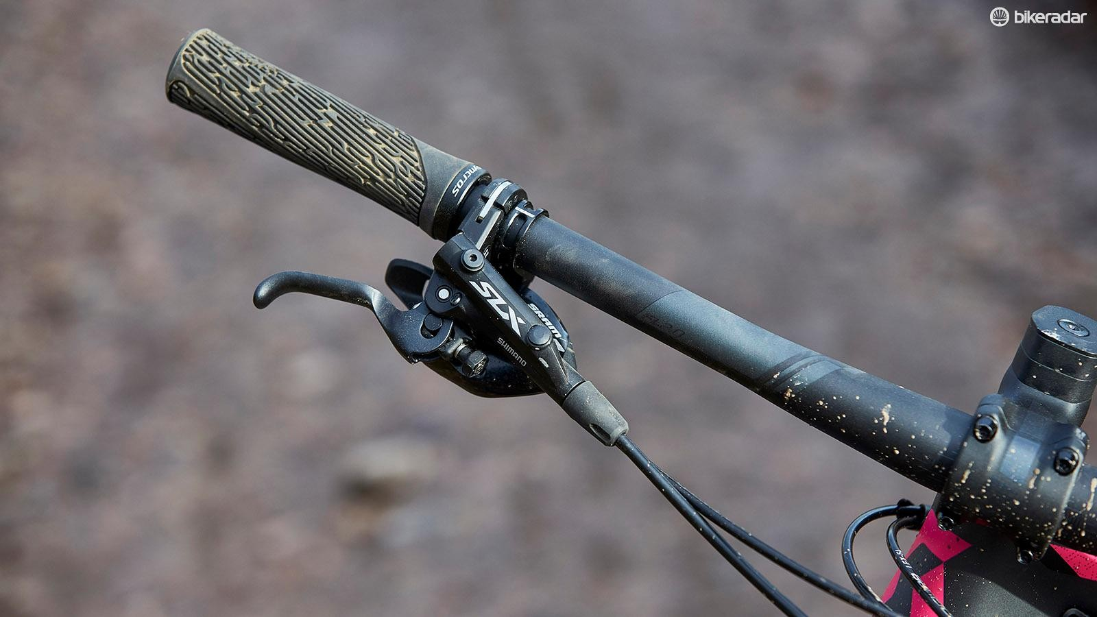 Shimano SLX brakes provide good stopping power and smooth braking action