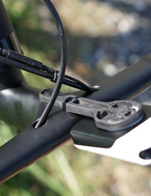 The underside of the Carbon Combo, including the two-position Garmin mount (which has to mess with the aerodynamics a little!)