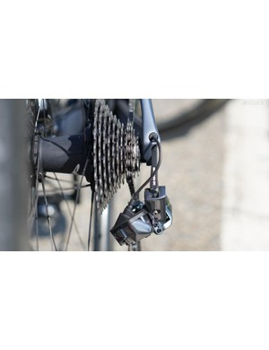 The new 9150 derailleur tucks nearly underneath the cassette