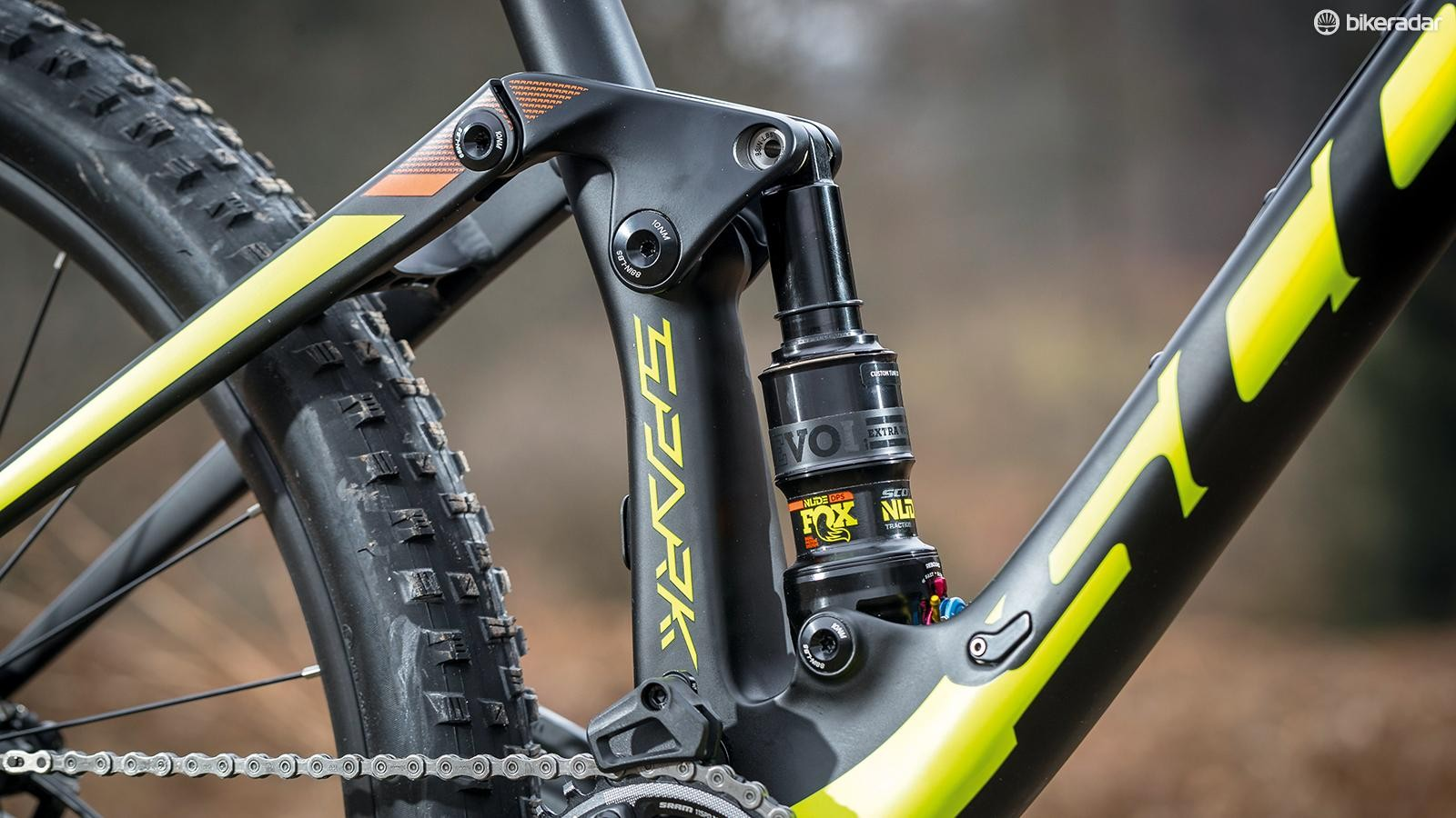 The Fox NUDE EVOL custom 120mm rear shock