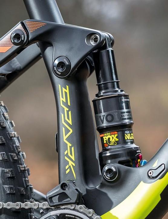 The Fox NUDE EVOL custom 120mm rear shock
