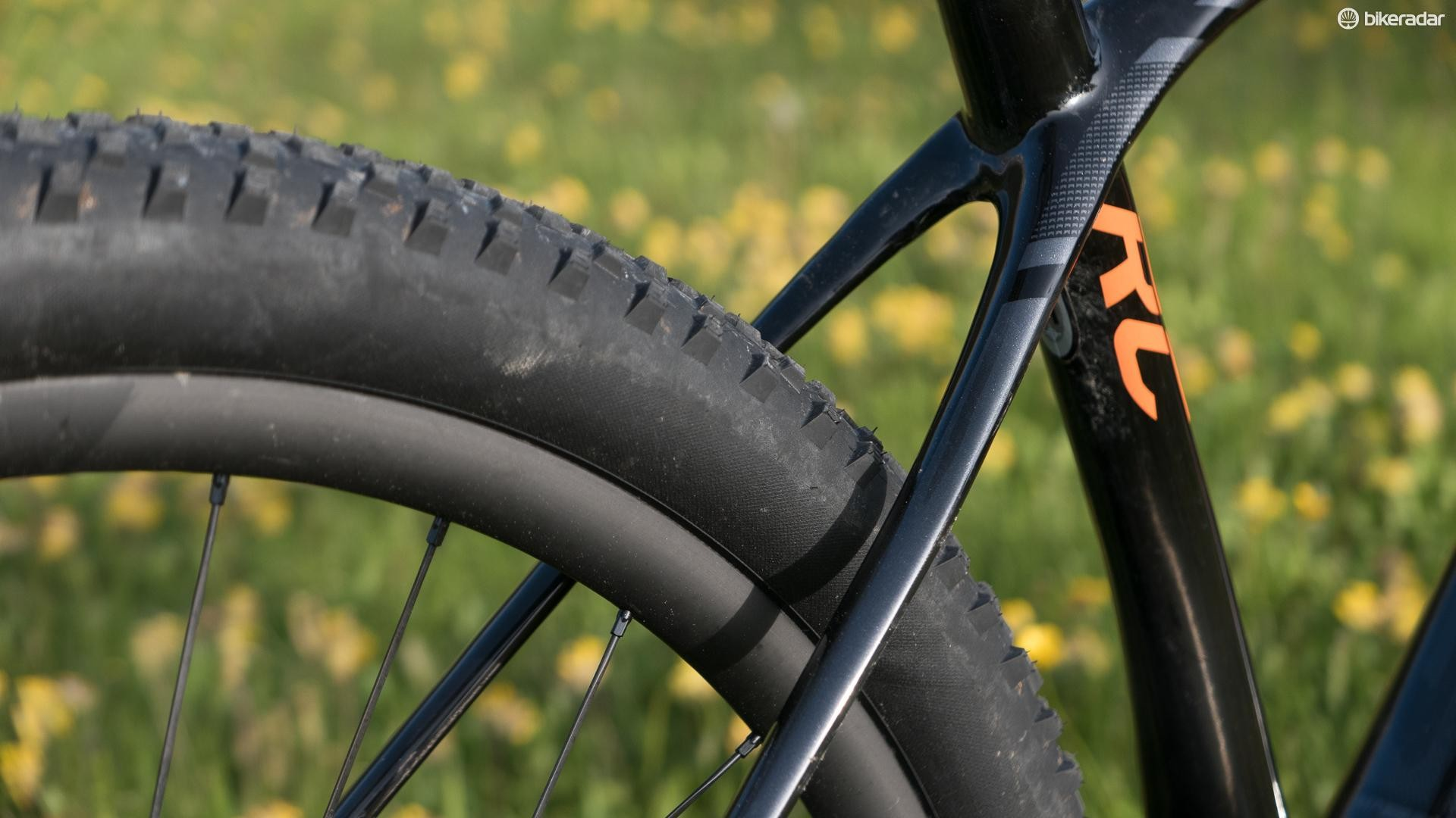 The flattened seatstays are designed to bow outwards to give greater compliance when the rider is stood up