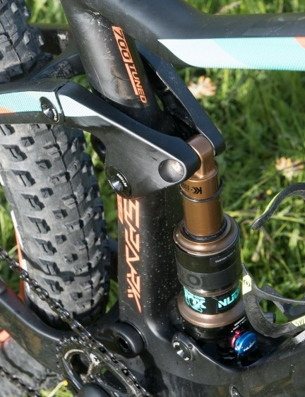 The Plus uses the same trunnion mount Fox Nude shock with switchable travel modes