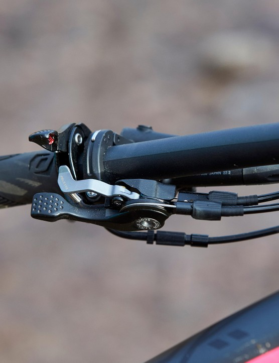 The dropper remote located just over the suspension lockout controls — this can be confusing when you're riding