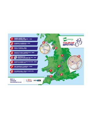 The 2018 Tour of Britain route map