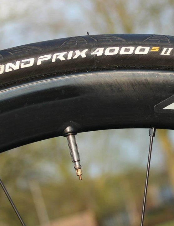Braking benefits aside, one plus to disc brakes is the ability to run fat tires like these 28mm Contis