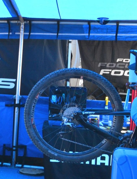 Surrounded by the Shimano blue, all brands of bikes running Shimano find the attention they deserve