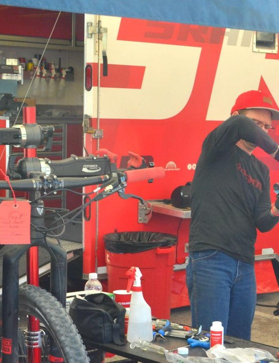 SRAM techs hard at work making sure the racers' equipment is ready to compete