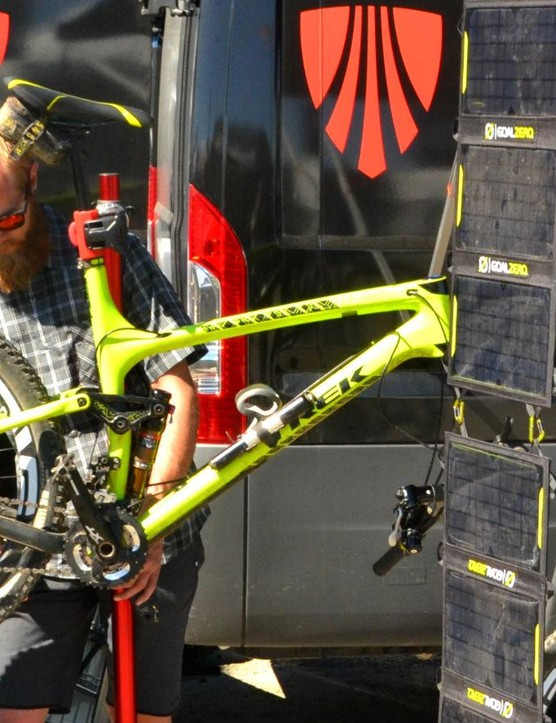 Trek's mechanics were on hand to keep rider and racer rolling and happy