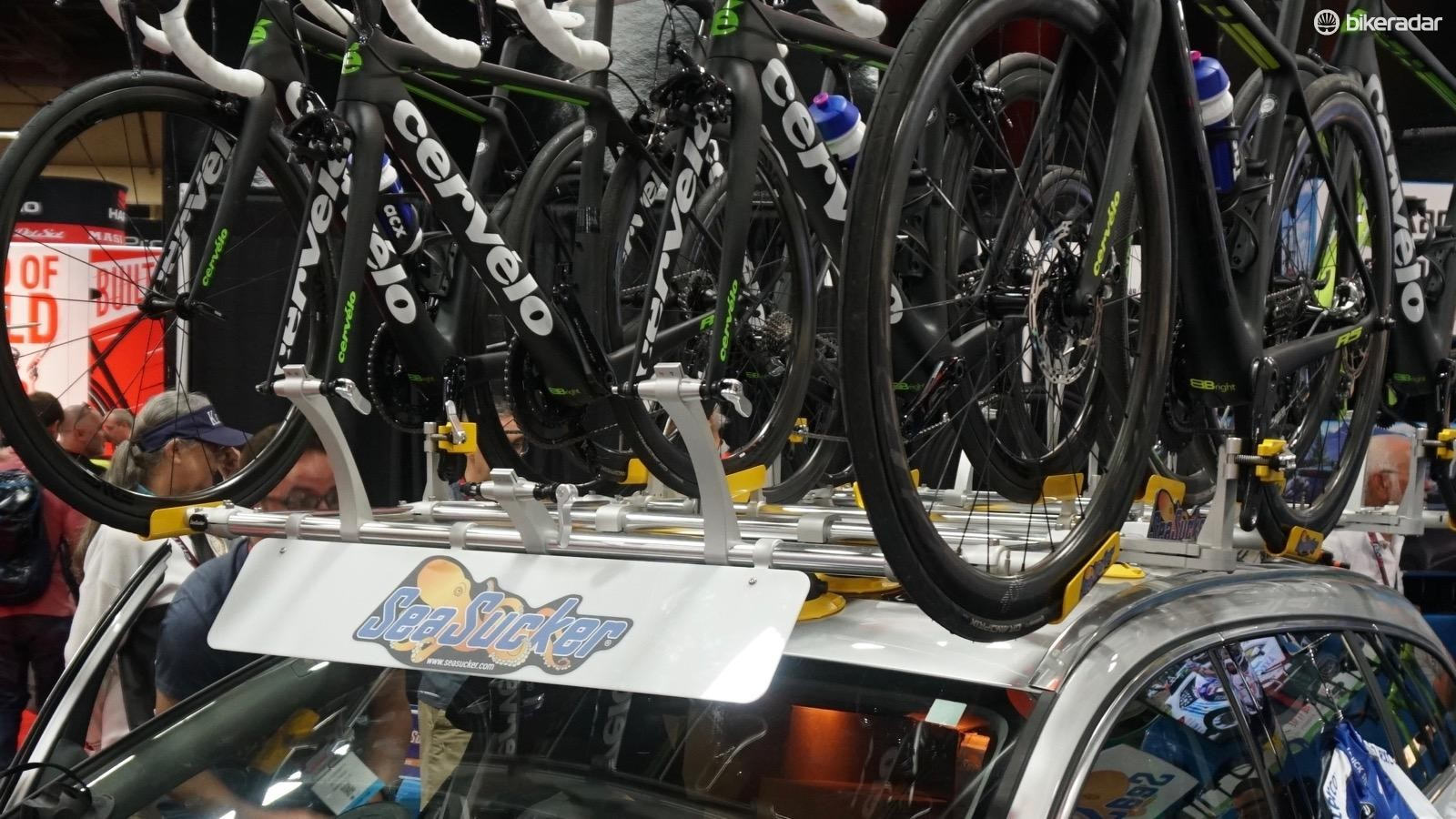 Seasucker's team rack features four ready-to-ride bikes, plus five bikes with fork mounts