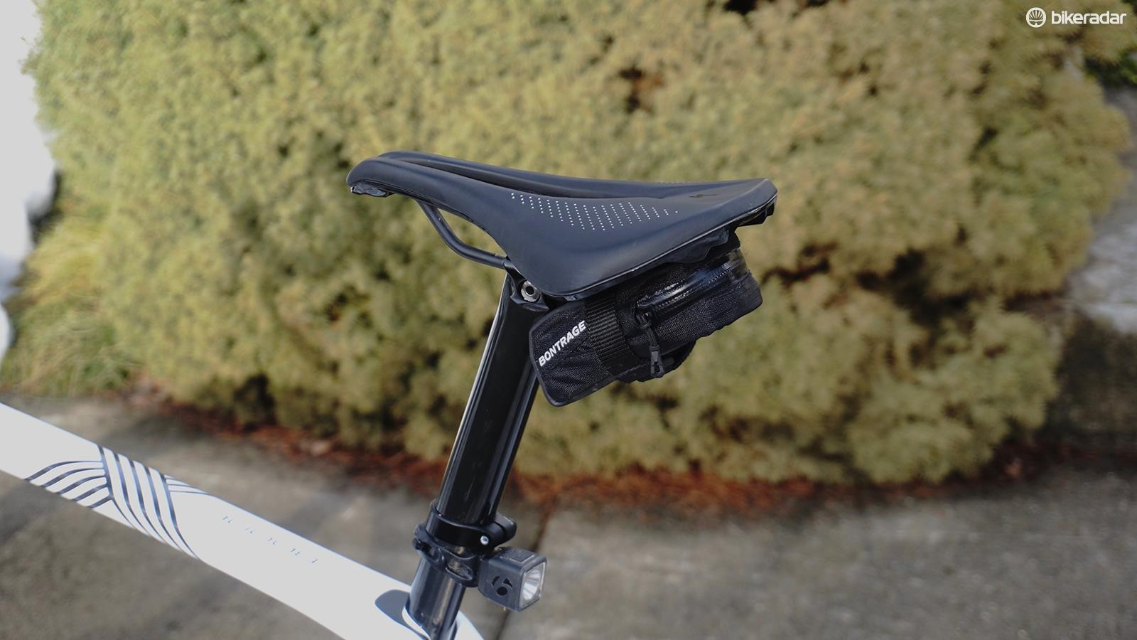 Bontrager's Elite Micro Seat Bag is small enough that it doesn't require a seatpost strap