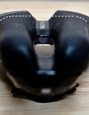 This triathlon/time-trial saddle is very flat across the top and has an abundant cutout for soft-tissue relief