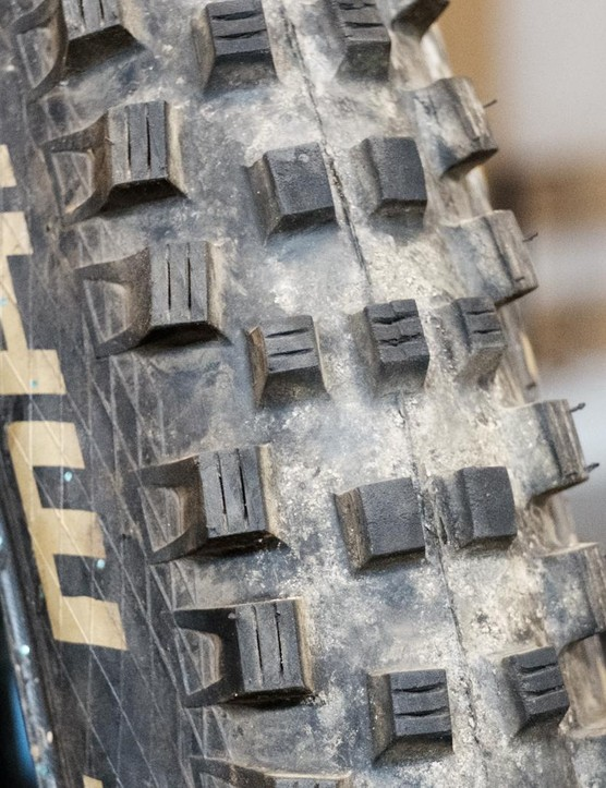 The tread is widely spaced, super aggressive and works brilliantly on hard, rocky terrain